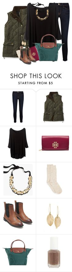 """""""Jingle Bell Time (in 70 degree weather)"""" by southernstylish ❤ liked on Polyvore featuring Frame Denim, Tory Burch, J.Crew, Hue, Lulu*s, Longchamp and Essie"""