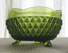 Indiana Glass Green Diamond Point 3 Toed Candy Dish Rose Bowl #IndianaGlass