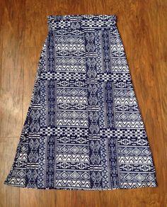 Women's Hot Kiss Navy White Maxi Skirt Large Boho Hippie Aztec Print | eBay