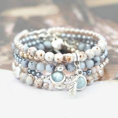 Hippe sieraden van Tsjechische Glasparels DQ & glaskralen DQ met een marmer natuursteen look!
