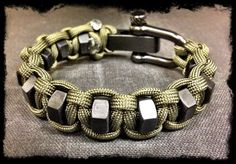 Adjustable paracord hexnut bracelet by TacticalBlackRDS on Etsy, $35.00