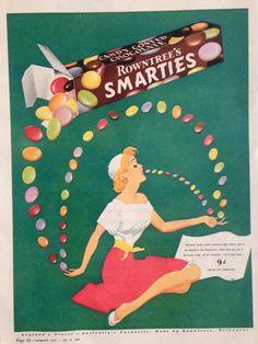 ROWNTREE S SMARTIES AD RETRO SWEETS 1956 original vintage AUSTRALIAN advertising