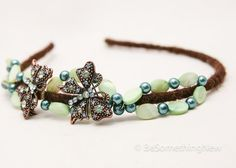 Butterflies and beads headband for women by BeSomethingNew on Etsy, $30.00