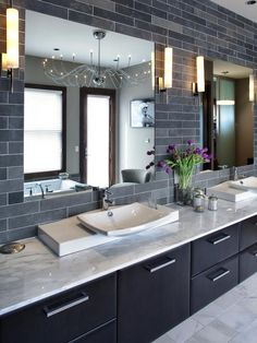 Modern Master Bathroom with Complex marble counters, Vessel sink, can lights, Standard height, Flush, drop in bathtub