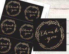 black gold bridal shower favor tags printable DIY wedding shower favour tags black gold glitter wreath thank you cards - INSTANT DOWNLOAD