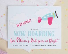Airplane Birthday Party Welcome Sign - Airplane Welcome Sign - Girls Plane Party…