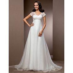 A linha V-neck organza trem tribunal e rendas do vestido de casamento – BRL R$ 351,05