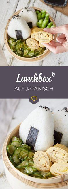 Mach Schluss mit Langweiler-Lunch und füll deine Box ganz japanisch - mit Onigiri, Tamagoyaki-Omelett, Edamame und knackigem Sesam-Gurken-Salat.