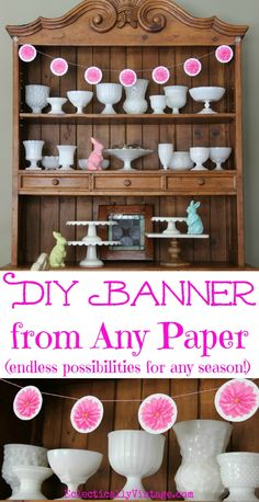 DIY Paper Banner - from any paper! So fun, use this tutorial with music sheets, book pages, scrapbook paper and more! eclecticallyvintage.com #bHomeApp