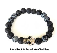 Volcanic lava beads & the head stone bracelet enlightens you with deep symbolism like mortality, courage, toughness, darkness and death whilst soaking up the health benefits of our aromatherapy essential oils. Head Stone, Snowflake Obsidian, Skull Head, Beaded Skull, Stone Bracelet, Lava, Aromatherapy, Health Benefits, Darkness