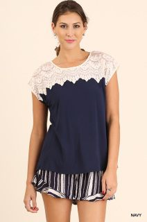 3620ef0e901 Short Sleeve Top With Lace Details Lace Detail
