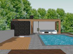 Ontwerp poolhouse De Messemaker 8 Cuijk — Chris Kokke Architect Swimming Pool Landscaping, Swimming Pools Backyard, Modern Landscaping, Home Garden Design, Modern Garden Design, Yard Design, Modern Pool House, Modern Pools, Backyard Cabana