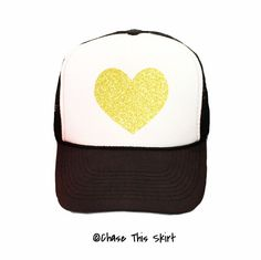 Sparkle Heart Trucker Hat in Black and Gold