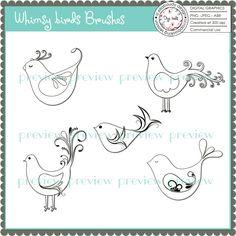 bird imag, embroideri idea, templat, doodl, brushes, bordado, bird brush, digital stamps, birds
