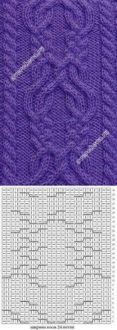 широкая коса для центраоьного мотива | каталог вязаных спицами узоров