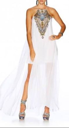 Camilla White Sheer Overlay Dress find it and other fashion trends. Online shopping for Camilla clothing. High halter neck silk crepe mini dress with sheer. Sheer Overlay Dress, Sheer Mini Dress, White Dress, Camilla Clothing, White Cocktail Dress, Prom Dresses, Formal Dresses, Dresses Online, Summer Outfits