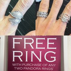 """""""Free Pandora ring with the purchase of two rings! Offer expires October 30! #merlenorman #pandorajewelry #ringpromo"""""""