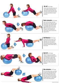 excercise diagrams -- Guess it's time to blow back up the Yoga Balls back pain diagram Stability Ball Exercises, Back Exercises, Balance Ball Exercises, Swiss Ball Exercises, Stretches, Fitness Diet, Fitness Motivation, I Work Out, Get In Shape