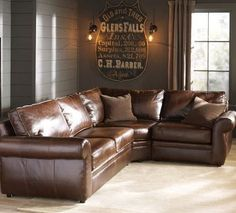 Sectional corner couch, brown leather, arms on both sides ~ET