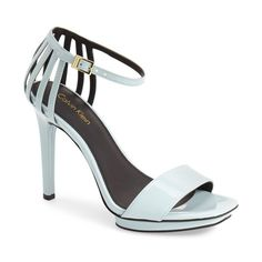 "Calvin Klein 'Vivianna' Platform Sandal, 4 1/2"" heel ($119) ❤ liked on Polyvore featuring shoes, sandals, skylight patent, ankle strap platform sandals, ankle tie sandals, high heel sandals, calvin klein shoes and ankle strap shoes"