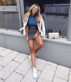girly outfits with sneakers Girly Outfits, Mode Outfits, Skirt Outfits, Fall Outfits, Summer Outfits, Casual Outfits, Dress Skirt, Ootd Fashion, Girl Fashion