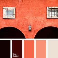 beige, black, brown, color matching in interior, color solution for living room, coral red, hot orange, light orange, orange shades, terracotta, terracotta shades.