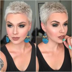 Blonde Pixie Cut - 90 Classy and Simple Short Hairstyles for Women over 50 - The Trending Hairstyle Short Spiky Hairstyles, Short Pixie Haircuts, Short Hairstyles For Women, Boy Haircuts, Simple Hairstyles, Men's Hairstyles, Formal Hairstyles, Short Grey Hair, Short Hair Cuts For Women