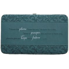 Teal I Know the Plans Opera Wallet - Jeremiah 29:11  Price : $19.99 http://www.veritasgifts.com/Teal-Know-Plans-Opera-Wallet/dp/B00BHL9VVA