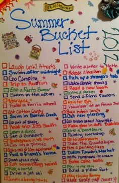 Summer Bucket List ideas I'm gonna go make one!!!!