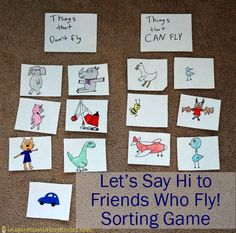 Let's Say Hi to Friends Who Fly! Sorting Game - Summer Virtual Book Club for Kids Linky Party: June's author is Mo Willems
