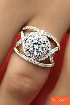 18k white and rose gold contemporary diamond split shank engagement ring     at Gabriel  & Co.