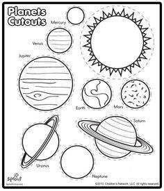 Attività scolastiche - Tagliare e colorare i pianeti dello spazio - Planets cutouts