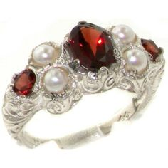Natural Garnet & Pearl Victorian Ring - Gorgeous! Maybe with Diamond or something other than Garnet.