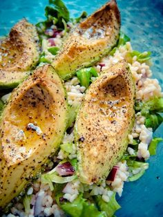 Roasted Avocado Over Mixed Lettuce and Couscous