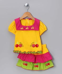 Take a look at this Yellow Cherry Top & Skirt - Infant & Toddler by Lele for Kids on #zulily today!