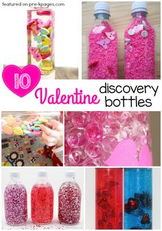 Valentine Discovery Bottles for Preschool. Make learning FUN with these sensory bottles your preschoolers will LOVE!