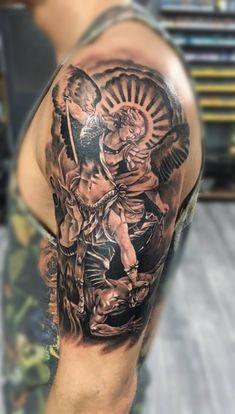 St Michael tattoo by Dan K. Limited availability at Redemption Tattoo Studio. St Michael tattoo by Dan K. Limited availability at Redemption Tattoo Studio. Cross Tattoo On Wrist For Guys Angel Tattoo Arm, Cross Tattoo On Wrist, Arm Tattoo, Archangel Michael Tattoo, St Michael Tattoo, Ange Michael, Michael Angel, Saint Michael, Angel Tattoo Designs