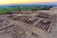 Aerial view over the West Bank of Luxor - ruins of the Ramesseum (mortuary temple of Pharaoh Ramesses II)
