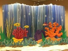 looks like plastic table cover with various shades of blue tulle - There is no coral in the Sea of Galilee Vbs Themes, Ocean Themes, Under The Sea Theme, Under The Sea Party, Submerged Vbs, Hawaian Party, Vbs 2016, Vbs Crafts, Vacation Bible School