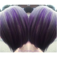 ✨ Silver & Purple Hair ✨  Pre-lightened using Kenra lightener w/ 20 vol. Redken 8T with 10 vol. for the silver. The purple is a mix of Pravana violet and Matrix color graphic in purple lacquer. All for 20 minutes. #silverhair #purplehair #hairbycheree