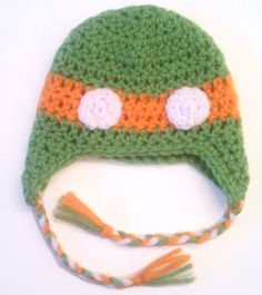 newborn ninja turtle hat (orange) $15