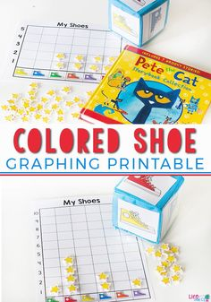 Learn about graphing with your preschoolers! This free printable colored shoe graphing printable is great with Pete the Cat books! It's also a great way to work on counting and learning colors with your preschoolers. Try this great printable today! Graphing Activities, Kindergarten Math Activities, Free Preschool, Color Activities, Learning Activities, Preschool Ideas, Teaching Ideas, Preschool Printables, Educational Activities