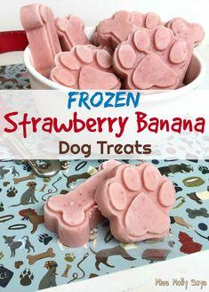 Homemade Frozen Strawberry Banana Dog Treats - Miss Molly Says treats homemade banana Frozen Dog Treats, Diy Dog Treats, Healthy Dog Treats, Puppy Treats, Summer Dog Treats, Dog Biscuit Recipes, Dog Treat Recipes, Dog Food Recipes, Homemade Dog Cookies