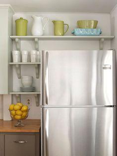 Shelves and Cabinet next to refrigerator