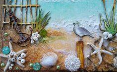 Such a Pretty Mess: Beach Canvas Video Tutorial {Shimmerz Paints & Dusty Attic Designs} Seashell Art, Seashell Crafts, Beach Crafts, Attic Renovation, Attic Remodel, Attic Inspiration, Attic Rooms, Attic Bathroom, Attic Apartment