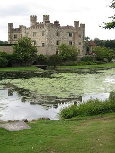 Leeds Castle across the moat. The castle has been owned by, among others, King Edward I, Edward II, and Queen Katherine of Aragon.