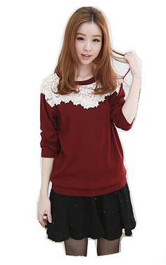 Women Long Sleeve Lace Patchwork T Shirt Tops on Luulla