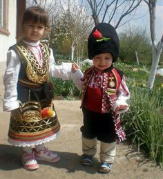 Bulgarian children wearing national clothes