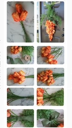 """Grab orange tulip """"bushes"""" for a STUNNING entryway idea Easter Wreaths, Holiday Wreaths, Holiday Crafts, Diy Spring Wreath, Spring Crafts, Diy Easter Decorations, Easter Table, Easter Crafts, Creations"""