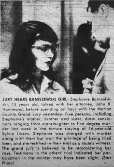 Stephanie Baniszewski, one of the gang of kids who tortured Sylvia Likens to death, or stood by and did nothing while the others killed her, under the supervision of Stephanie's mother, Gertrude. Sylvia Likens, Famous Murders, Unusual Facts, Pierce Brosnan, China Girl, Serial Killers, True Crime, Nonfiction, Psychology